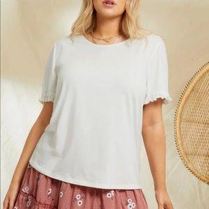 Plus size boho frill  trim blouse